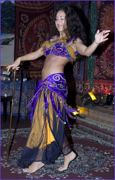 Ina, Bellydancer, San Diego, performs with Cane