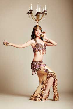 Shaunti, Bellydancer with Candelabra Props